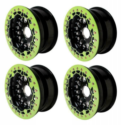 Alba Racing Baja Crusher Billet Beadlock UTV Wheels 4/156 or 14x7 or 52 Green AR-BC-088