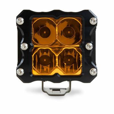 Heretic Studio 6 Series Billet LED Quattro Pod Light Flood Amber HS-6S-QLFA