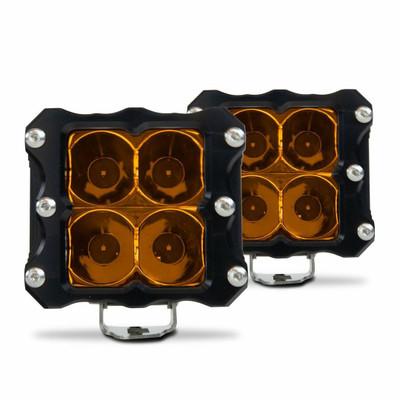 Heretic Studio 6 Series Billet LED Quattro Pod Light Pair Flood Amber HS-6S-QLF2A