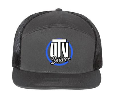 UTV Source 7 Panel Flat Bill Trucker Hat Standard Logo Charcoal/Black UTVS-HAT-H3301