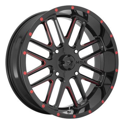 MSA M35 Bandit UTV Wheel 22X7 4X156 Black w/ Red M35-022756R