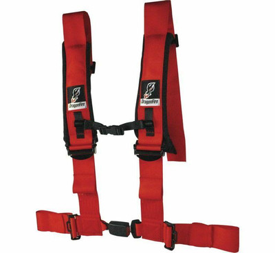 DragonFire Racing H Style 4-Point EZ-Adjust Harness Red 3 Buckle 522047