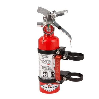 Axia Alloys Quick Release Fire Extinguisher Mount with Red 1.4lb Halotron Black MODFM1.4HR-BK