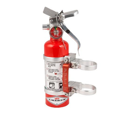 Axia Alloys Quick Release Fire Extinguisher Mount with Red 1.4lb Halotron Silver MODFM1.4HR-C