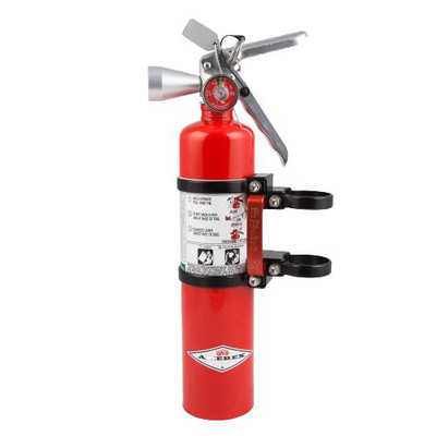 Axia Alloys Quick Release Fire Extinguisher Mount with Red 2.5lb Halotron Black MODFM2.5HR-BK