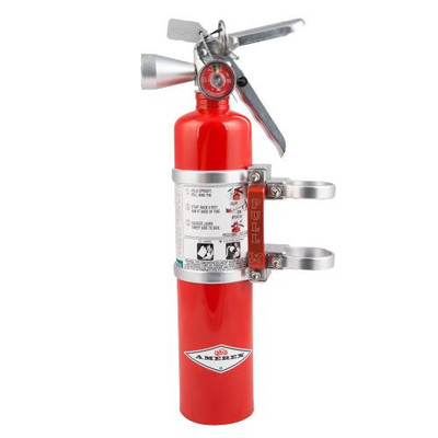Axia Alloys Quick Release Fire Extinguisher Mount with Red 2.5lb Halotron Silver MODFM2.5HR-C