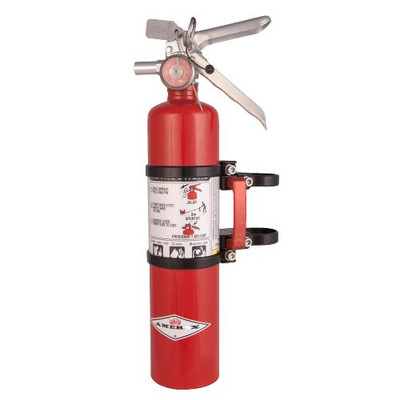 Axia Alloys Quick Release Fire Extinguisher Mount with Red 2.5lb Amerex Black MODFMAR-BK