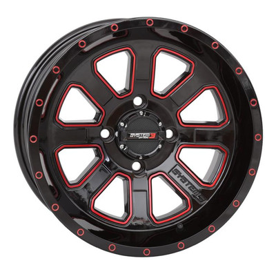 System 3 Offroad ST-4 UTV Aluminum Wheels 14X74/11010mmBlack - Red 14S3-4110R