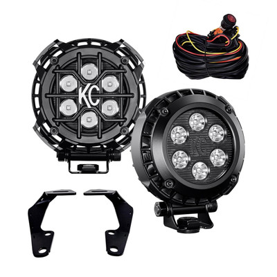 KC HiLites 10-18 Toyota 4Runner Ditch Mount 4 Round LZR LED Light Kit Spot 97072