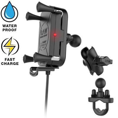 RAM Mounts Tough-Charge Waterproof Wireless Charging Motorcycle Mount RAM-B-149Z-A-UN12W-V7M