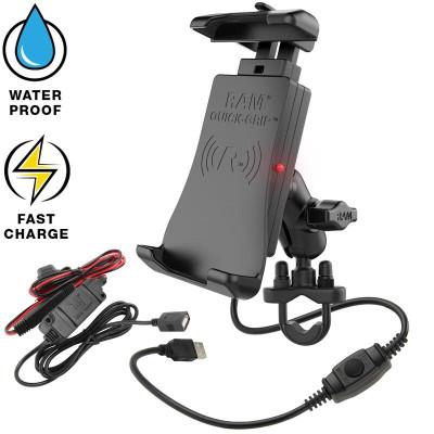 RAM Mounts Quick-Grip Waterproof Wireless Charging Handlebar Mount RAM-B-149Z-A-UN14W-V7M