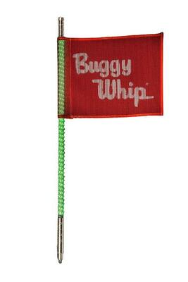 Buggy Whip 2 ft Green LED Whip w/ Red Flag Standard Threaded Base BWLED2GT