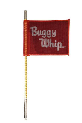 Buggy Whip 2 ft Amber LED Whip w/ Red Flag Bright Threaded Base BWBRTLED2AT