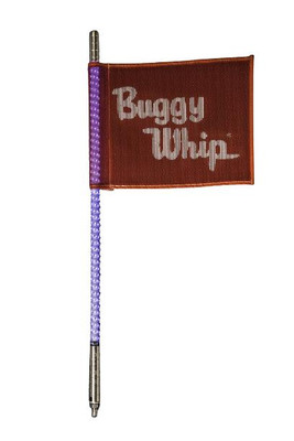 Buggy Whip 2 ft Blue LED Whip w/ Red Flag Standard Otto Release Base BWLED2BOR