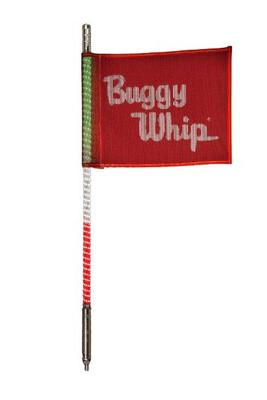 Buggy Whip 8 ft Green White Red LED Whip w/ Red Flag Standard Threaded Base BWLED8GWRT