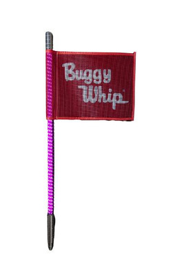 Buggy Whip 8 ft Hot Pink LED Whip w/ Red Flag Bright Threaded Base BWBRTLED8HPKT