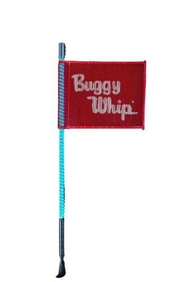 Buggy Whip 8 ft Teal LED Whip w/ Red Flag Bright Threaded Base BWBRTLED8TT