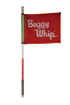 Buggy Whip 8 ft Green White Red LED Whip w/ Red Flag Standard Quick Release Base BWLED8GWRQ