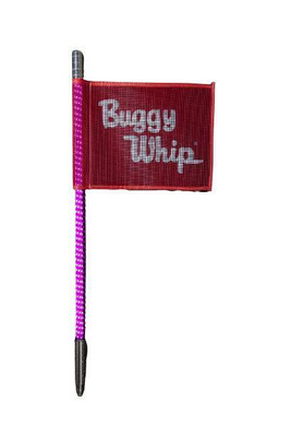 Buggy Whip 8 ft Hot Pink LED Whip w/ Red Flag Bright Quick Release Base BWBRTLED8HPKQ