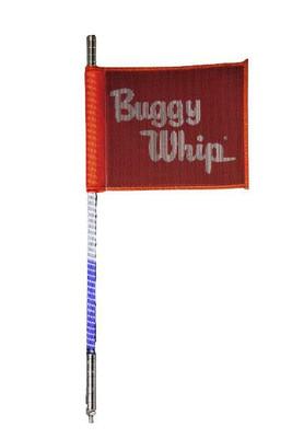 Buggy Whip 8 ft Red White Blue LED Whip w/ Red Flag Standard Otto Release Base BWLED8RWBOR