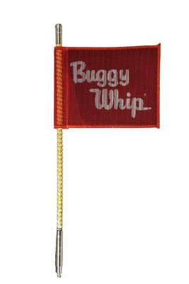 Buggy Whip 8 ft Amber LED Whip w/ Red Flag Bright Otto Release Base BWBRTLED8AOR