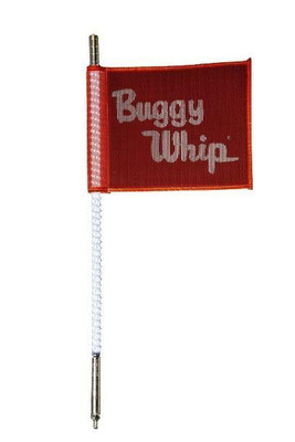 Buggy Whip 8 ft White LED Whip w/ Red Flag Bright Otto Release Base BWBRTLED8WOR
