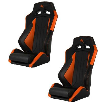 Amped Off-Road Polaris RZR Pro XP ADS-I UTV Suspension Seats Pair Fixed Black/Orange 6500OR-XP-FIXED