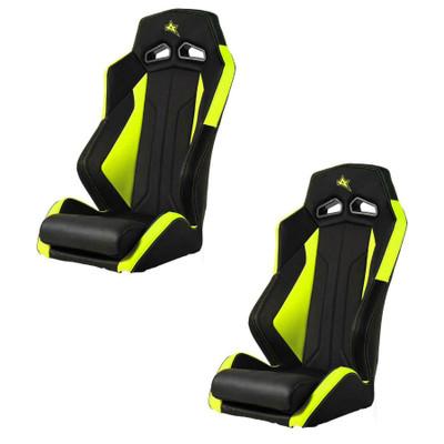 Amped Off-Road Yamaha YXZ ADS-I UTV Suspension Seats Pair Black/Lime Squeeze 6500NY-YXZ