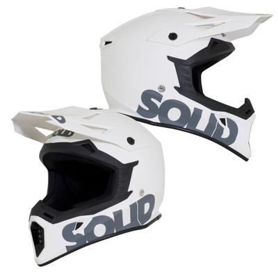 SOLID Helmets S13 MOTO Full Face Helmet Matte White SOLID-S13-WH