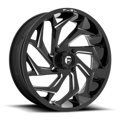Fuel Offroad D753 REACTION UTV Wheel 22X7 4X137 Gloss Black Milled D7532270A644