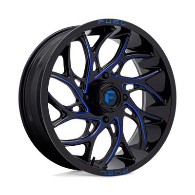 EFX Tires D778 RUNNER UTV Wheel (22X7) (4X156) (Gloss Black Milled Blue) (D7782270A540)