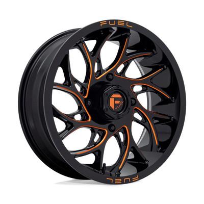 Fuel Offroad D780 RUNNER UTV Wheel 22X7 4X136 Gloss Black Milled Orange D7802270A640