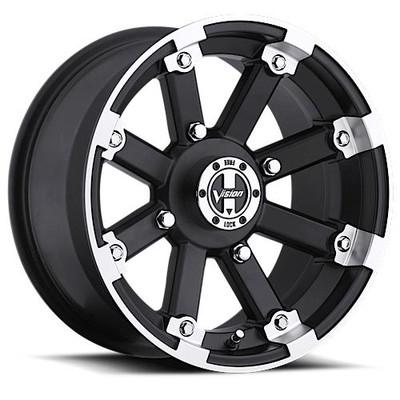 Vision Wheel 393 Lock Out UTV Beadlock 12x8 4x4 -10 Matte Black Machined Lip 393-12844MBML4