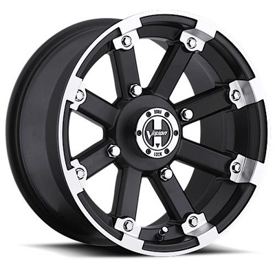 Vision Wheel 393 Lock Out UTV Beadlock 14x8 4x110 -61 Matte Black Machined Lip 393-148110MBML2