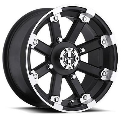Vision Wheel 393 Lock Out UTV Beadlock 14x8 4x115 -10 Matte Black Machined Lip 393-148115MBML4