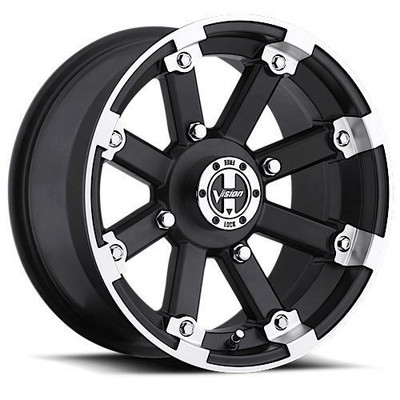 Vision Wheel 393 Lock Out UTV Beadlock 15x7 4x136 3 Matte Black Machined Lip 393-157136MBML4