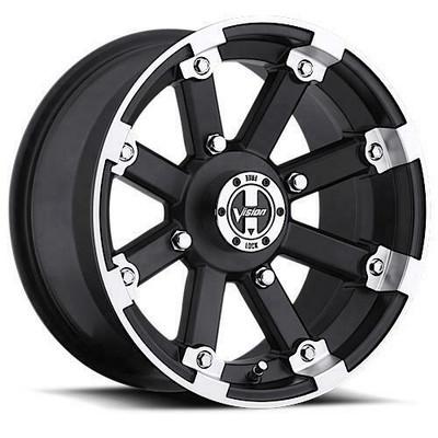 Vision Wheel 393 Lock Out UTV Beadlock 15x7 4x136-10 Matte Black Machined Lip 393-158136MBML4
