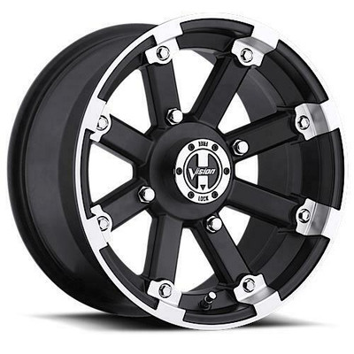 Vision Wheel 393 Lock Out UTV Beadlock 15x8 4x156 -10 Matte Black Machined Lip 393-158156MBML4