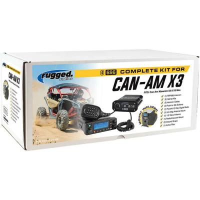 Rugged Radios Can-Am X3 Complete UTV Communication Kit w/ Side Panels w/ AlphaBass Headset X3-KIT-V1-H28