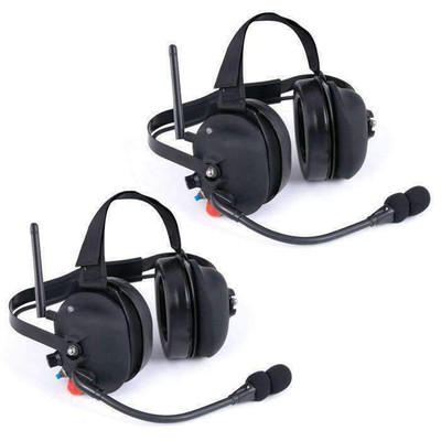 Rugged Radios Wireless Double Talk Dual Headset Intercom System RW-H30-DT-PTT