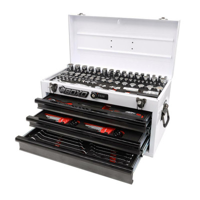 BOXO USA 185-Piece Metric and SAE Tool Set with 3-Drawer Hand Carry Toolbox White ECC20301-003R2