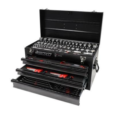 BOXO USA 185-Piece Metric and SAE Tool Set with 3-Drawer Hand Carry Toolbox Black ECC20301-003R2SBK1