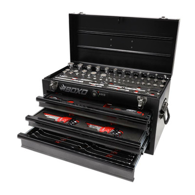 BOXO USA 117-Piece SAE Tool Set with 3-Drawer Hand Carry Box Black ECC20301-002R2SBK1