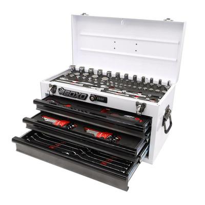 BOXO USA 117-Piece SAE Tool Set with 3-Drawer Hand Carry Box White ECC20301-002R2