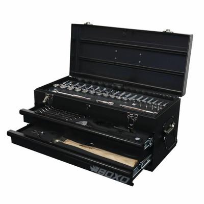BOXO USA 113-Piece Metric Tool Set with 2-Drawer Hand Carry Tool Box Matte Black ECC19201SBK1-113-2