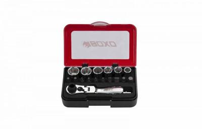 BOXO USA 18-Piece Metric 1/4 Drive 6-Point Socket Set with Flex Head Ratchet P502