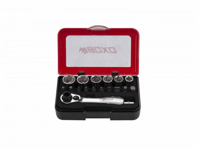 BOXO USA 18-Piece Metric 1/4 Drive 6-Point Socket with 1/4 Drive and Bit Ratchet Head Tool Set P501