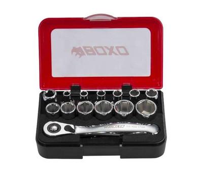 BOXO USA 15-Piece Metric 1/4 Drive 6-Point Socket with Mini Ratchet Tool Set P500