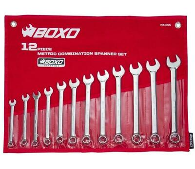 BOXO USA 12-Piece Metric Combination Wrench Set 8-19mm PA400