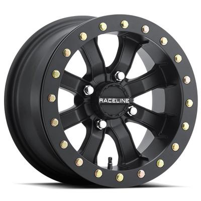 Raceline Wheels A71B Black Mamba UTV Beadlock Wheel 14X7 10 4X137 Black A71B-47037-T-52